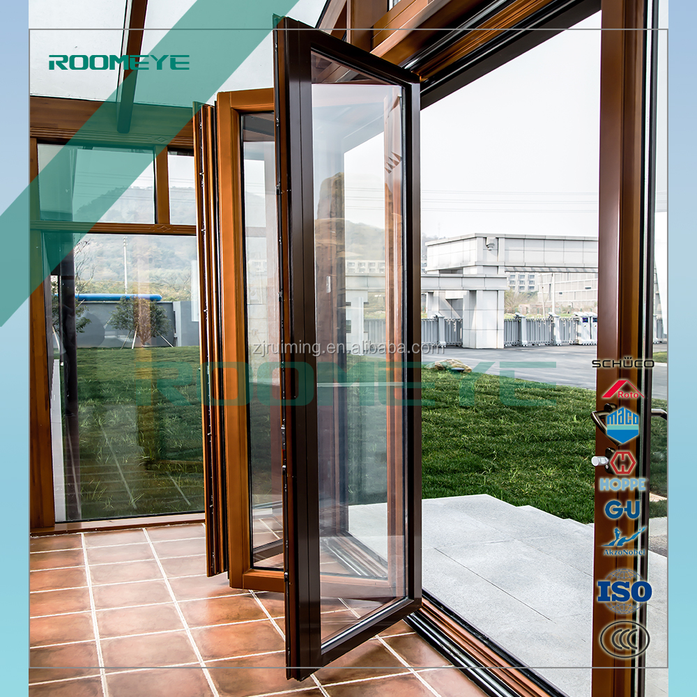 Aluminum wooden exterior folding door with tempered glass Germany hardware
