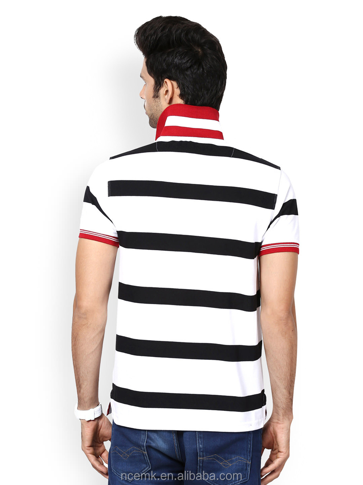 4a8c606bf268cb Black And White Striped Knit Polo T-shirt With Red Collar For Man ...