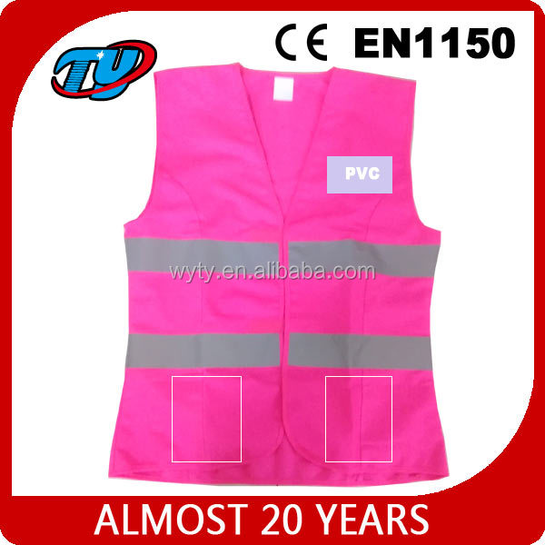 High visibility pink Reflective safety warning vest