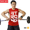 OEM print men cotton gym sport yoga workout fitness red tank top mens