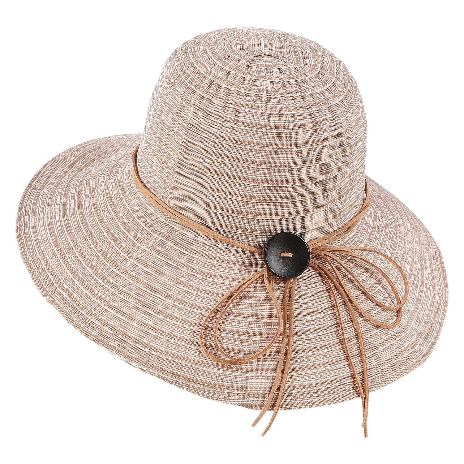 3d525e65e12 Get Quotations · Women's Packable Sun Hat with Chin Cord Wide Brim Cotton Beach  Hat Adjustable