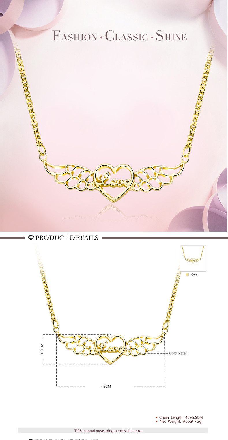 Angel Wings gold diamond ladies necklace love heart shape women wedding party chain