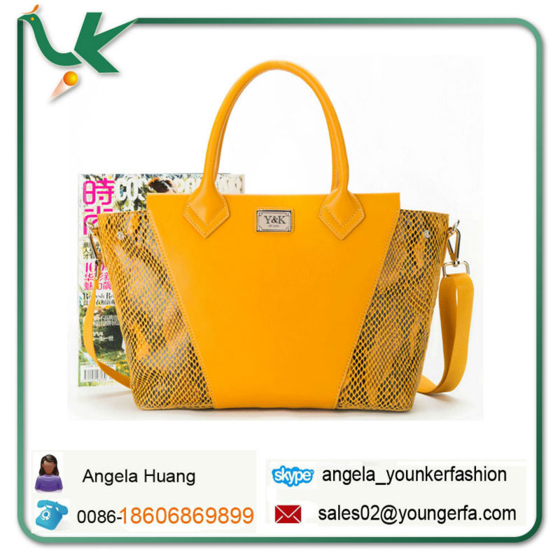 Wholesale Designer Branded Lemon Yellow Snake Leather Tote Bag For ...
