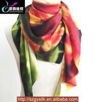 lady art digital custom printing polyester/silk scarf and shawl 2016