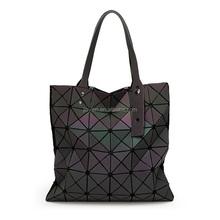 envo de las mujeres baobao bolso geometra lentejuelas espejo saser llano plegable bolsas luminoso paquete bolsos