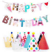 Fun and Colorful Gold Foiled Happy Birthday Banner Flags and Kids Party Hats and Crowns Set Party Decoration Suppliers