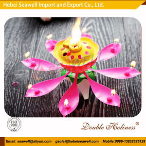 wholesale lotus shape color flower sing sparkling birthday cake candle