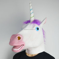 Hottest sale Halloween carnival latex mask cute Unicorn horse head mask for party cosplay