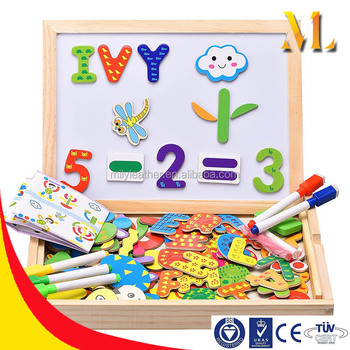 Innocheer Wooden Magnet Puzzle Letters Numbers Shape 110