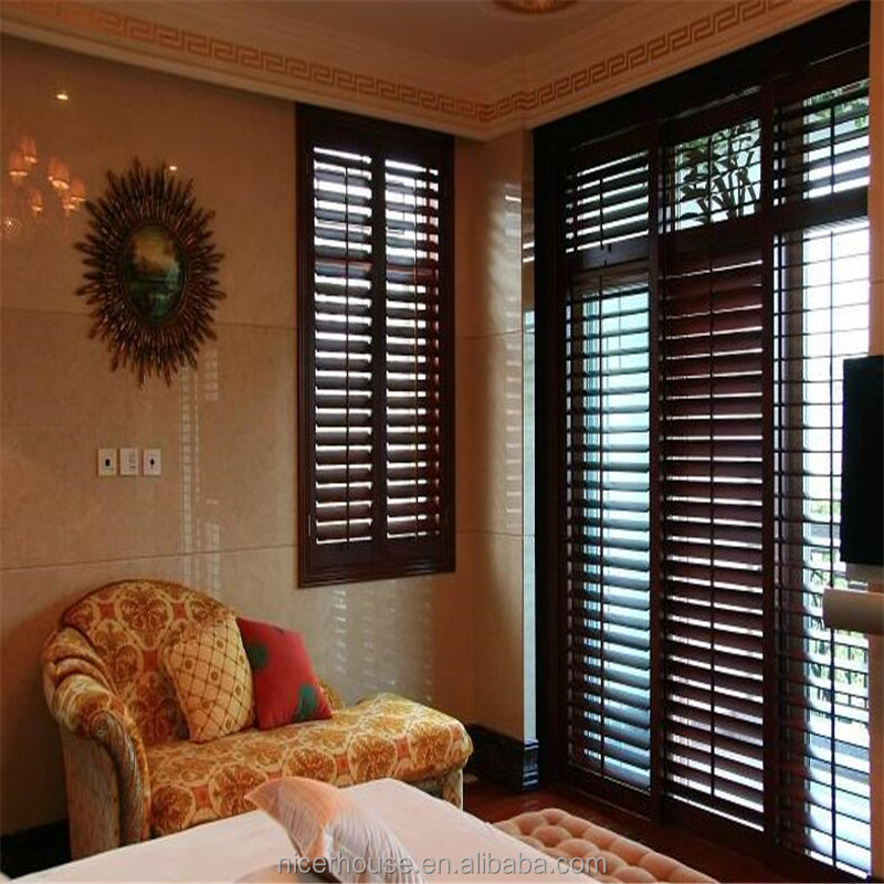 High quality bahama window security shutters black interior plantation shutters