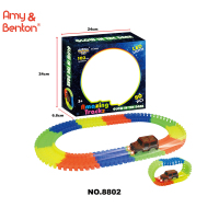 Magic Track 3.4ft with 80 pcs and 1 LED racer car glows in the dark