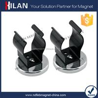 Master Magnetic Hook, Siver Round Base Magnet Fastener with Black Steel Clip