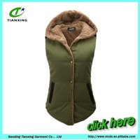 Womens Sherpa Lined Padded Bodywarmer Vest with Hood