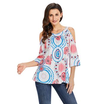 642dcaa9aa4bc Boho Print Half Sleeve Cold Shoulder Blouse Ladies Long Tops - Buy ...