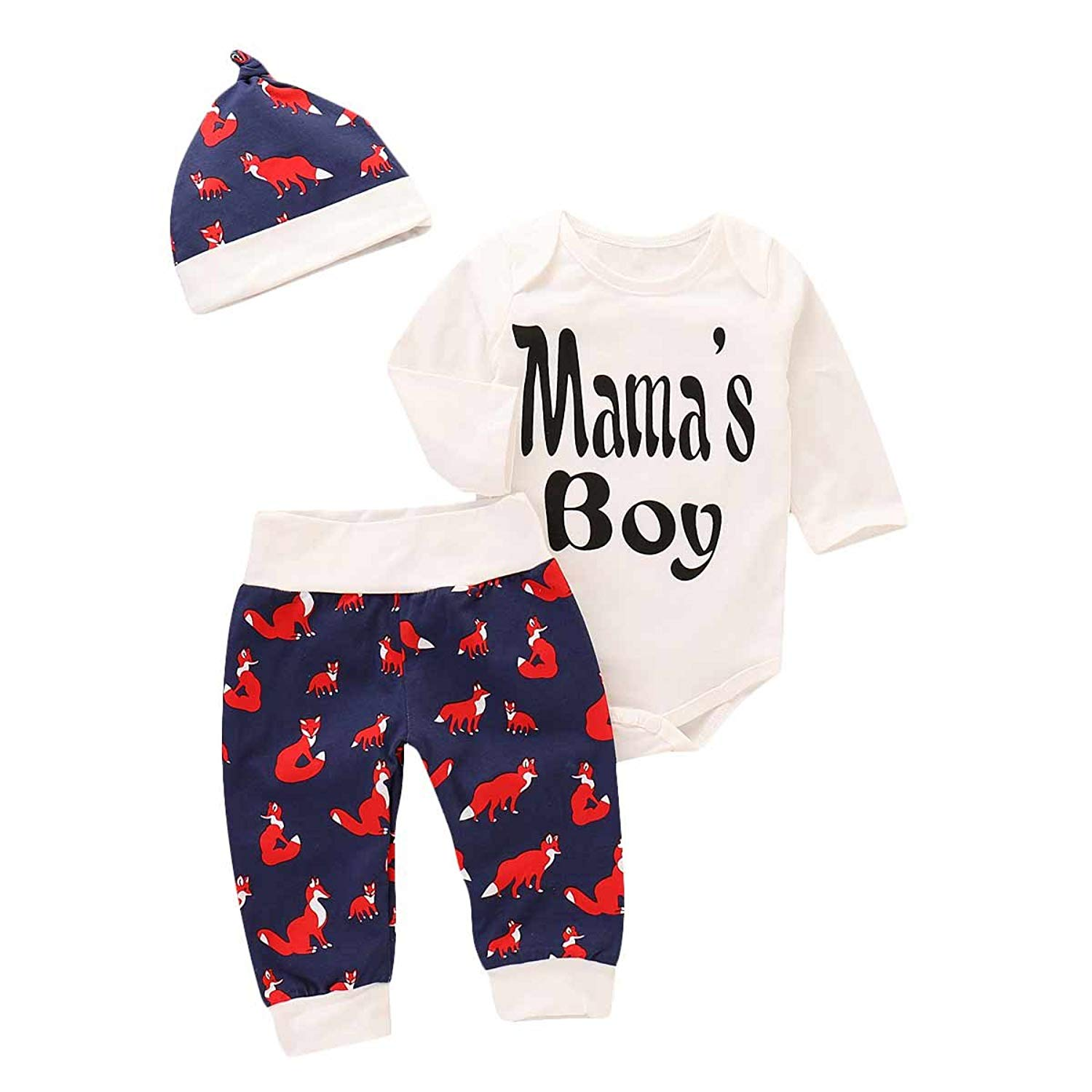 d4655ec7712 MLCHNCO Baby Boys 3Pcs Clothes Set Toddler Pinted Red Fox Pants Letter Long  Sleeve Tops and
