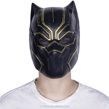 Máscara de látex Halloween Black Panther Com Ouro
