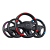 FX-G-001 17 inch red and black rubber leather car steering wheel cover
