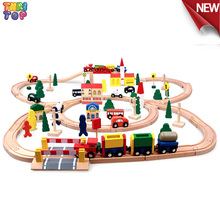 Factory Supply 100piece Wooden train Toy,High Quality Wood Train Set,Popular Wooden Train Track For Kids TH0007