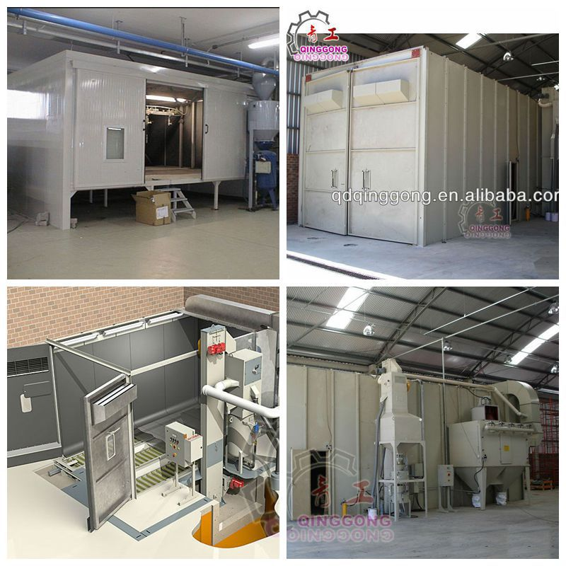 Air blast room/booth for large metal parts surface cleaning