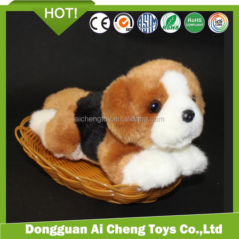 Cute soft plush Beagle dog toys with vest print logo lovely plush dog toys for children