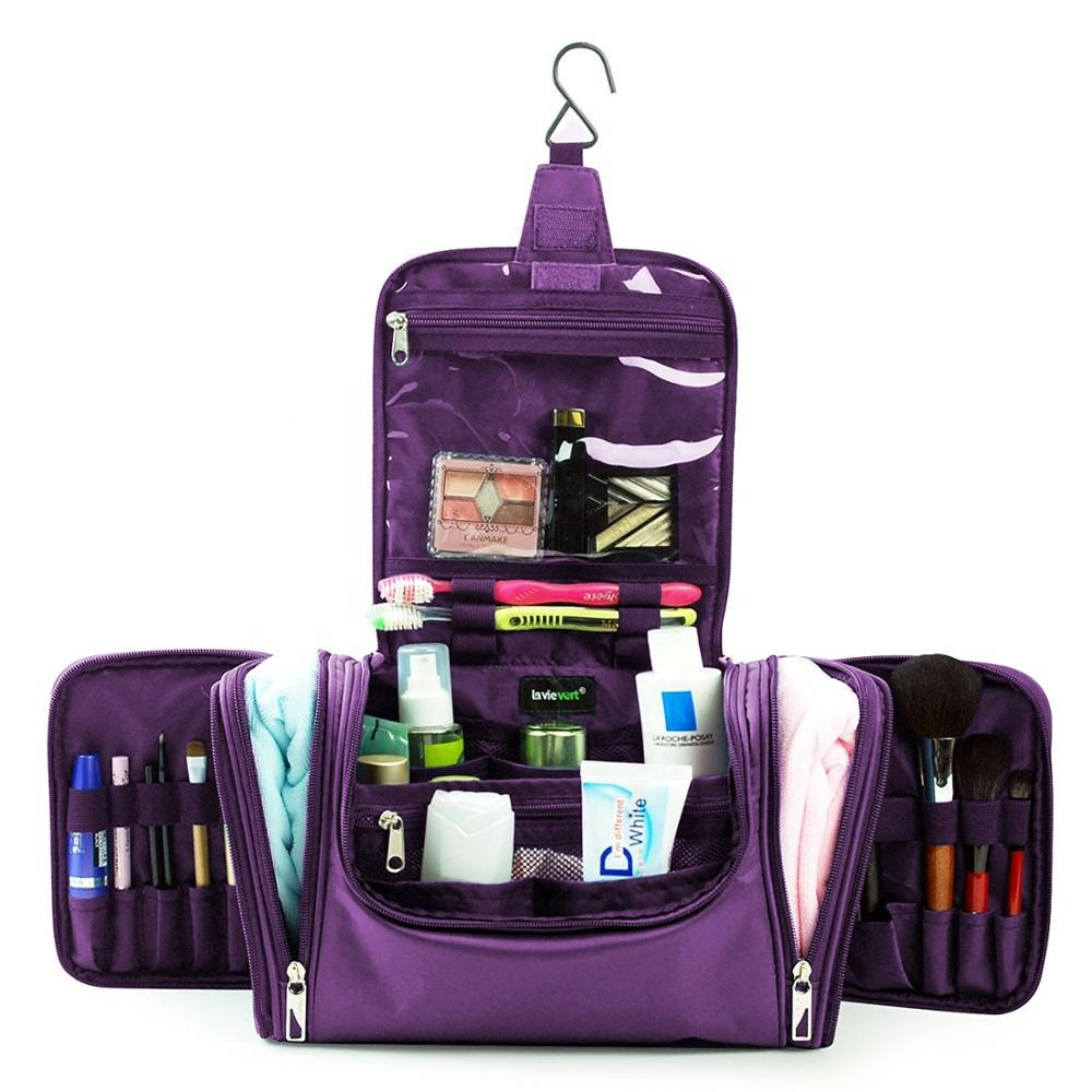 New Design Purple Nylon Waterproof Portable <strong>Travel</strong> Large Hanging Toiletry Cosmetic Bag Kit Organizer