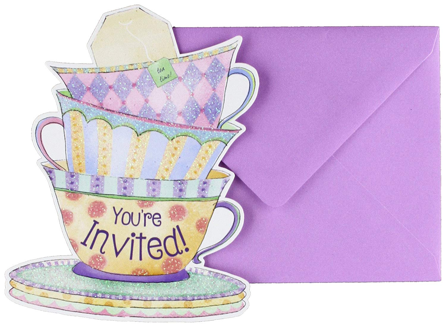 87cc198be07 Get Quotations · Amscan 490140 Party Supplies Tea Cup Large Novelty  Invitations (8 Ct)