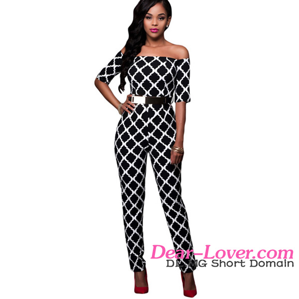 Monochrome Schwarzes Print Black Belted Off Schulter Overall Mode New Design