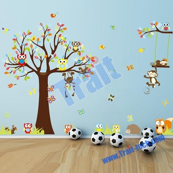 Berwarna Burung Hantu Dan Pohon Hiasan Dinding R Bayi Diy Pvc Stiker Removable