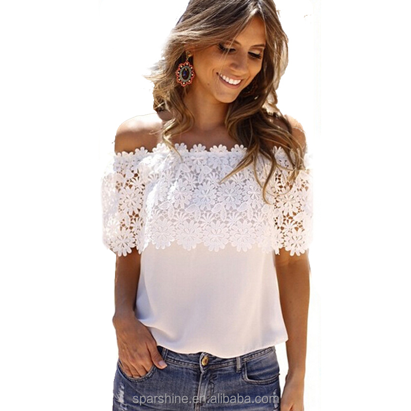 a40a48ef0ad Lace Blouse Off Shoulder Tops Short Sleeve Sexy Chiffon Blouse women shirt
