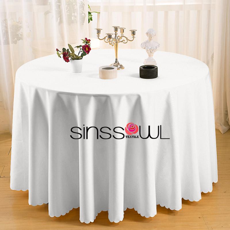 gros polyester blanc linge de table ronde pour les mariages h tel restaurant d coration. Black Bedroom Furniture Sets. Home Design Ideas