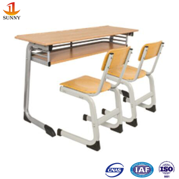 Government Tender Metal Frame Wood Furniture School Dual Desk And ...