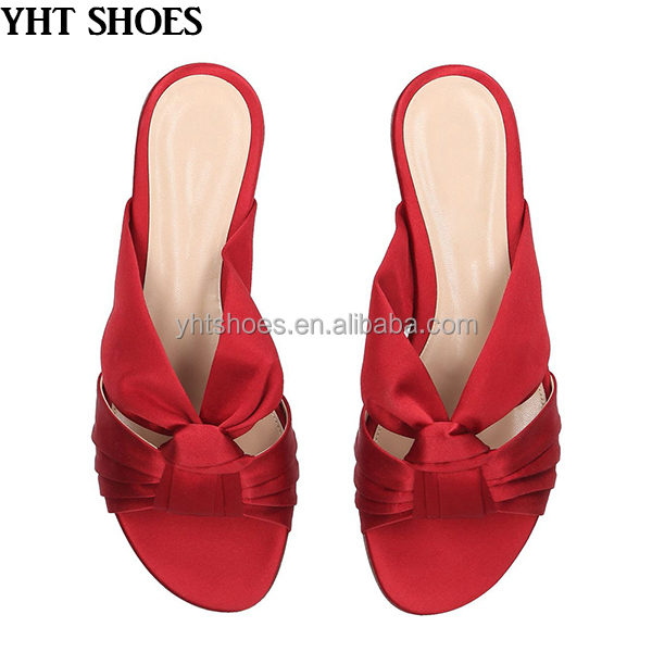 Bow knot 2018 women red vacation comfort slippers flat slides <strong>sandals</strong>