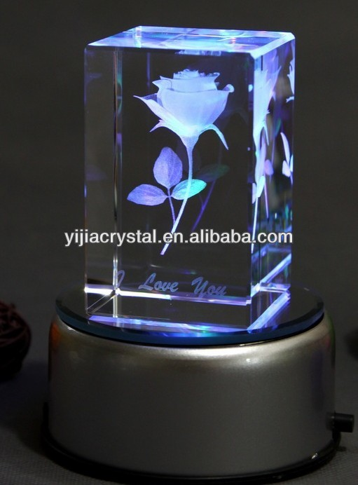 3d Laser Rose Crystal Cube With Led Light Base