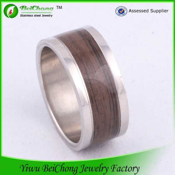 Beichong brand classical design natural wood hoop silver stainless steel men's ring