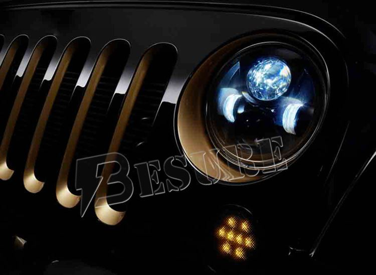 Front Turn Signal Light LED Fog Lamp On Front Bumper Grill Auxiliary Head Light For 07-UP Jeep Wrangler JK