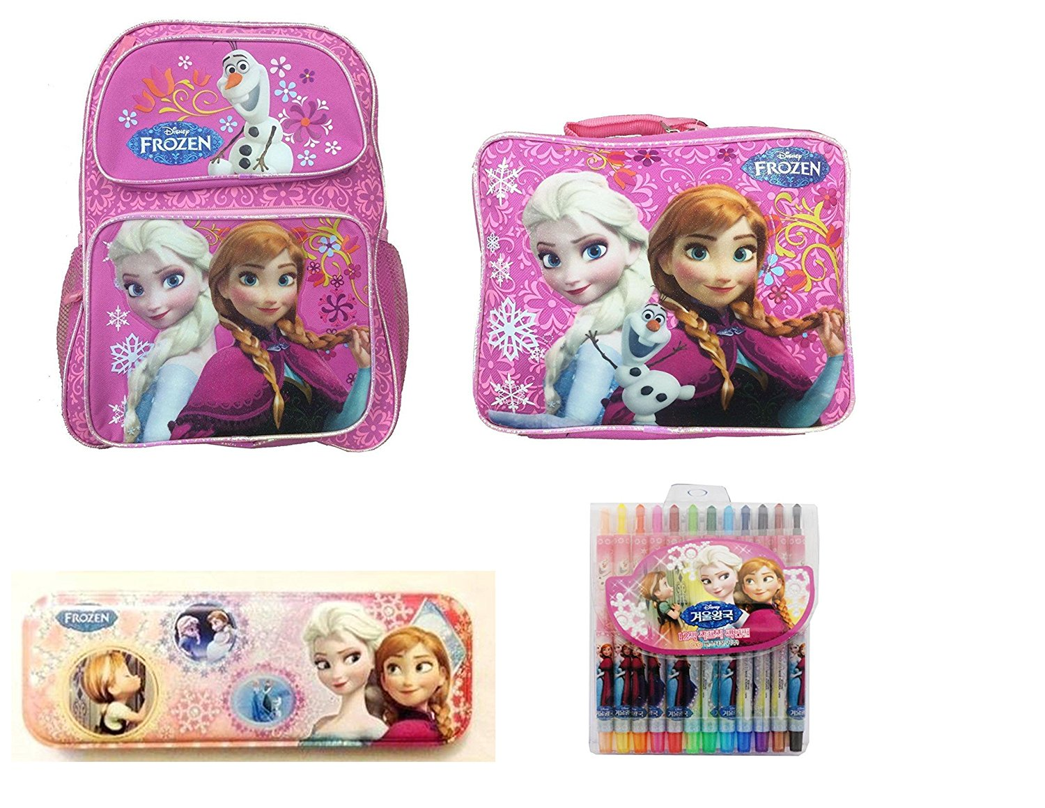 Disney Frozen 16 School Backpack with Matching Soft Lunch Bag Including Rare Korean Special Edition Pencil Box Tin and 12-Colored Pencil Set