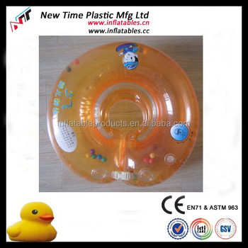 Cute Adjustable Belt Baby Neck Tube Kids Swim Tube Bath Ring Water ...