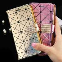 S5 S6 Fashion Grid Pattern PU Leather Flip Case Cover For Samsung Galaxy S5 I9600/S6 G9200 Phone With Card Slot Diamond Buckle