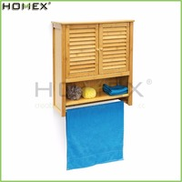 Bathroom Wall Mounted Storage Cabinet with Bamboo Towel Rack/Homex_FSC/BSCI Factory