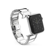 Ремешок для часов Apple Watch 44 мм 40 мм 5 4 3 2 1 iwatch 42 мм 38 мм, ремешок из нержавеющей стали + керамические звенья, Аксессуары для браслета(Китай)