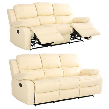 Top Grain Leather 3 Seater Recliner Set
