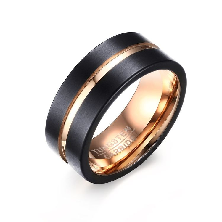 2019 Matte Finished IP Rose Gold plated 8mm Black Tungsten Ring For Men