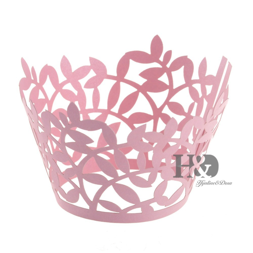 Buy Green 120PCS Hollow Laser Cut Branches Muffin Paper Cupcake Box ...