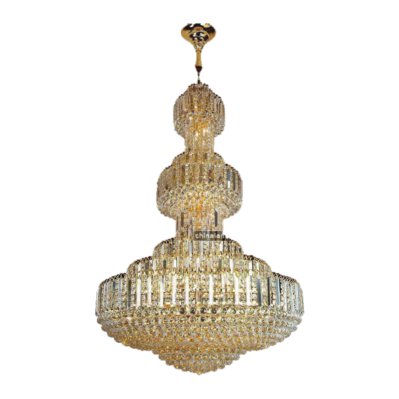 New products on china market trapezoidal shape crystal lace large pendant lamp
