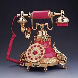 ANDP European antique telephones metal classic European retro home telephone villa for living room decor princess paragraph , pink