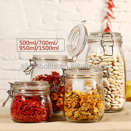 Clear Glass Storage Jar with Clip Lid for food storage /glass storage jar glass cookie jar 3000ml