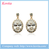 india wholesale clothing decoration gold jewelry plated 18k large oval stone hanging earrings