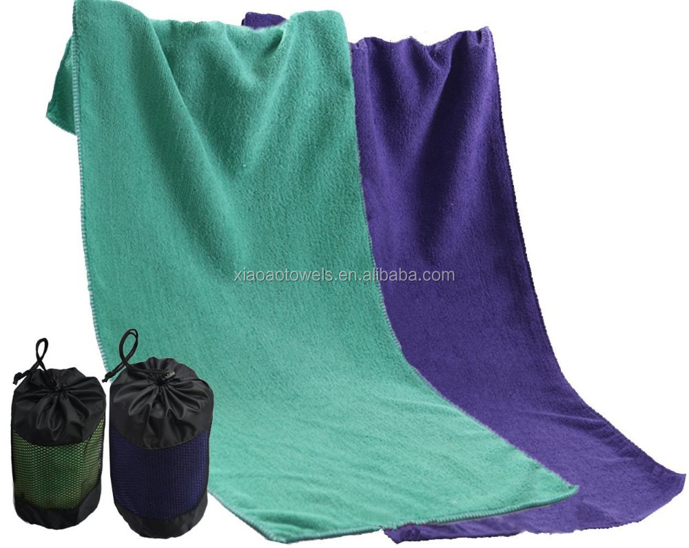 Plain Style Microfiber sports towel with mesh bag