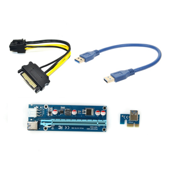 PCIe PCI-E PCI Express Riser Card 1x to 16x USB 3.0 Data Cable SATA to 6Pin IDE Molex Power Supply for BTC Miner Machine 60cm