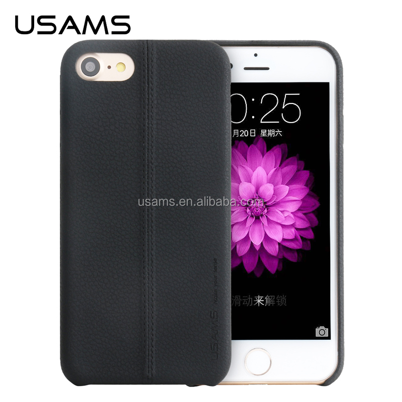 USAMS joe series Lichee Pattern PU Leather back cover for iphone 7 iphone 7 Plus